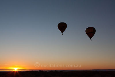 Two hot air balloons, Lake Eyre South, 2010