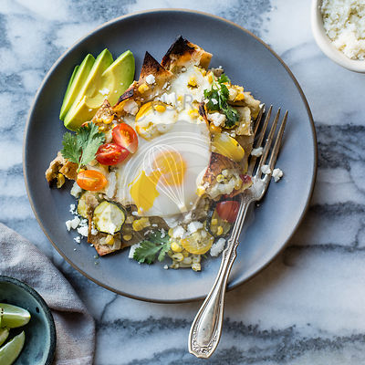 Summer vegetable baked chilaquiles.