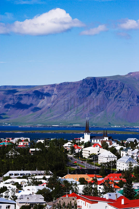 Skyline of Reykjavik and Mount Esja in the Background, Iceland