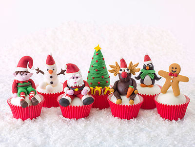 Christmas Figurine cupcakes on snow