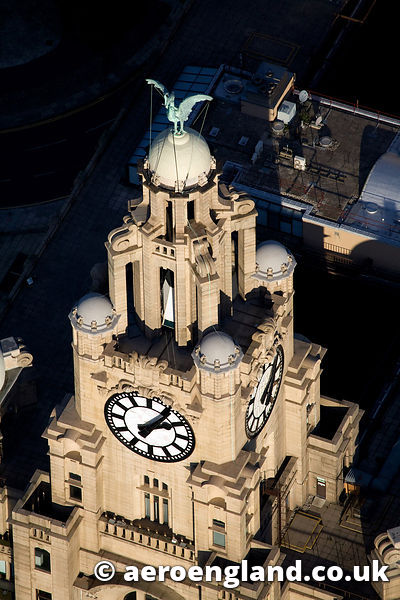 aerial photograph of the Liver Bird , Liverpool  Merseyside UK