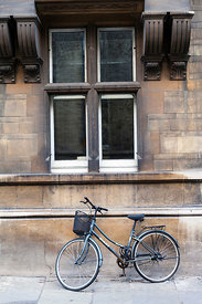 A student's bicycle parked on a Cambridge street, Cambridge University