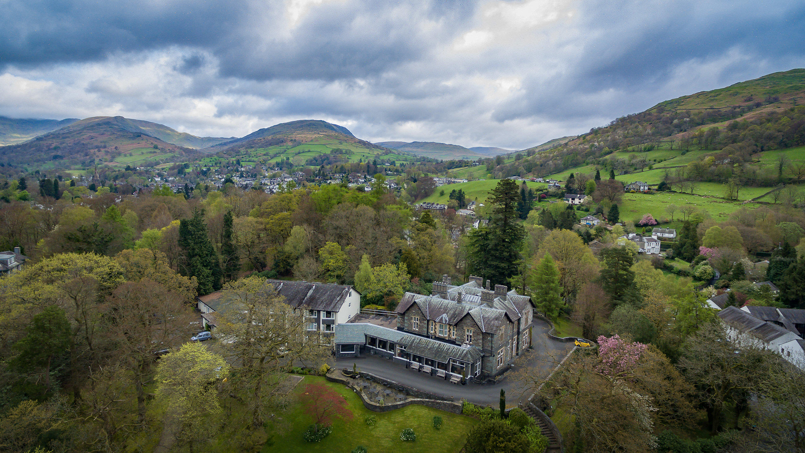 Aerial View of Ambleside Hotel on Lake Windemere