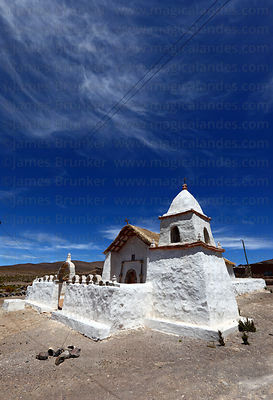 Rustic adobe church in Caraguano, Isluga National Park , Region I , Chile