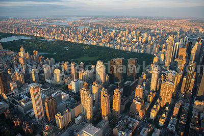 Aerial view of Central Park, a public park at the center of Manhattan in New York City