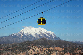 Yellow Line cable car gondola above Mt Illimani, Bolivia