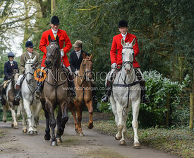 Major Tim Brown, Nicholas Leeming leaving the Cottesmore Hunt meet at Little Dalby Hall