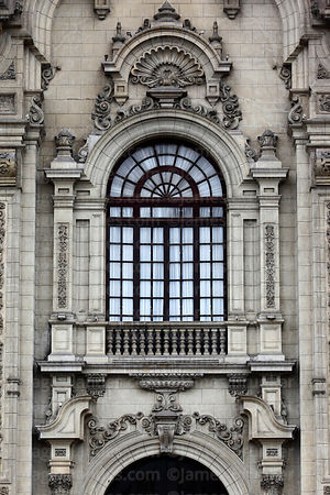 Detail of government palace entrance facade, Plaza de Armas, Lima, Peru