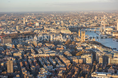 Aerial view of Victoria, Westminster, London. Palace of Westminster (Houses of Parliament) Westminster Abbey. Department for ...