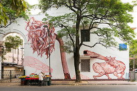 Details of Artist Amitabh Kumar's mural, Dead Dahlias on display in the Lodhi Colony area of New Delhi