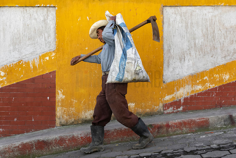 Field Worker Carrying a Shovel