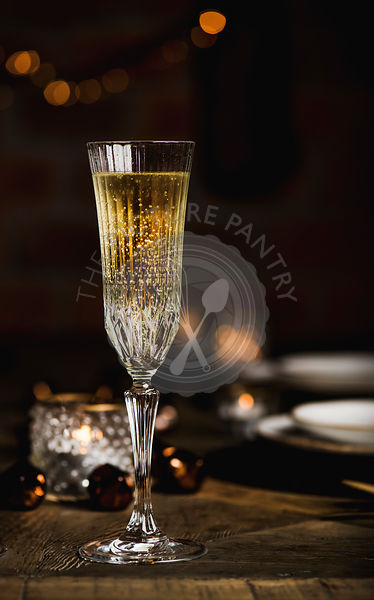 Christmas or New year festive set with champagne, copy space