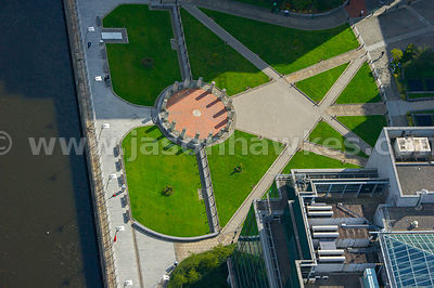 Aerial view of gardens at St George's Dock, Dublin, Ireland
