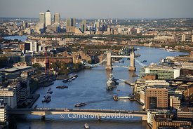 Aerial of the Thames River in Central London