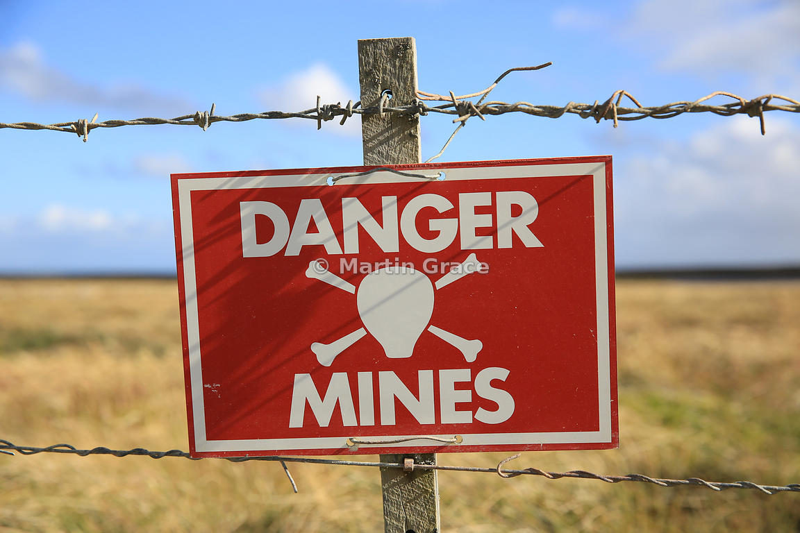 Minefield warning sign, East Falkland, Falkland Islands