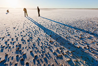 Exploring Lake Eyre at sunrise.