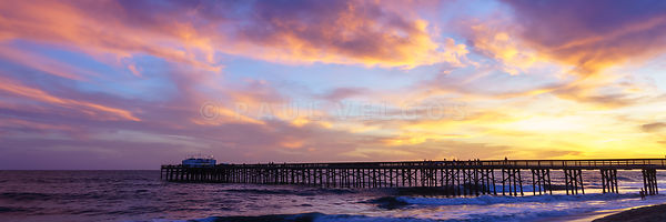 Newport Beach Pier Sunset Panorama Photo