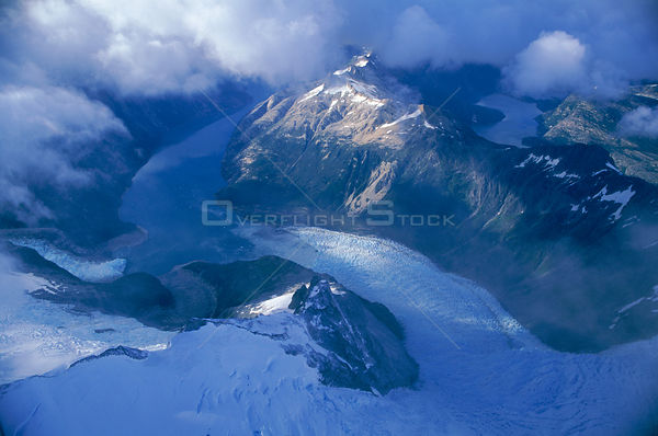 Aerial view of melting glacier in mountains, Peru 2000