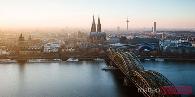 Panoramic of skyline at sunset, Cologne, Germany