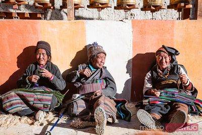 Old local women, Lo Manthang, Upper Mustang region, Nepal