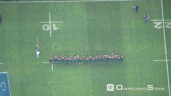 Aerial shot of the Springboks huddling before a game. Western Cape South Africa