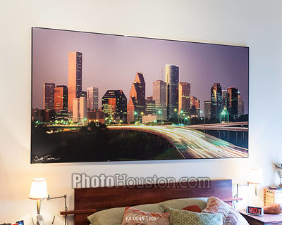 Houston skyline photography displayed in home
