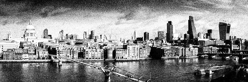 London skyline, St Paul's and the City digital sketch version