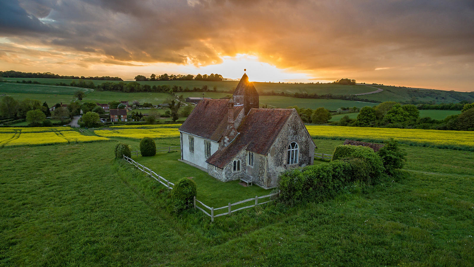 Aerial View of St Hubert's Church in Idsworth, Hampshire