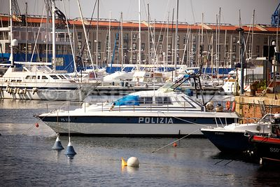 Police Launch in the Genoa Fishing Port