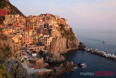 Manarola at sunset in the Cinque Terre Italy