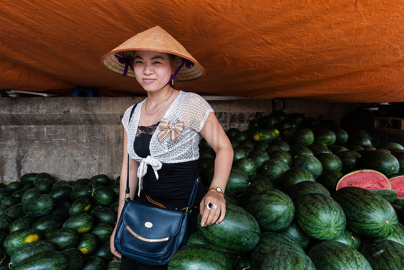 Portrait of a Woman Selling Water Melons at a Hanoi Market