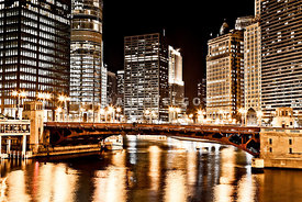 Chicago at Night at State Street Bridge