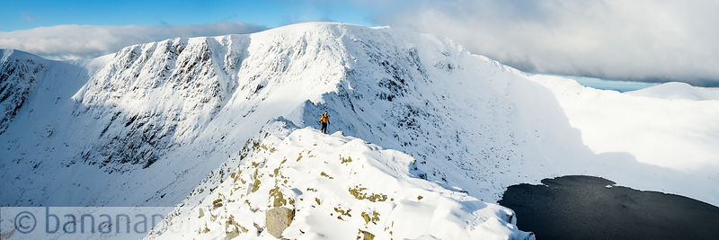 Striding Edge in winter, Helvellyn, Lake District - BP3333
