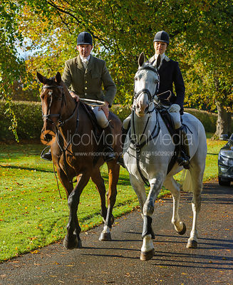 Rowan Cope and Lydia Cope arriving at the meet at Preston Lodge - Opening Meet 2016