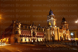 Archbishop's palace and cathedral at night, Plaza de Armas, Lima, Peru
