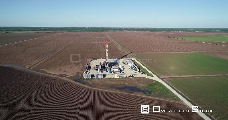Oil Drill Site AMong Corn Fields Rural Robertson County Texas