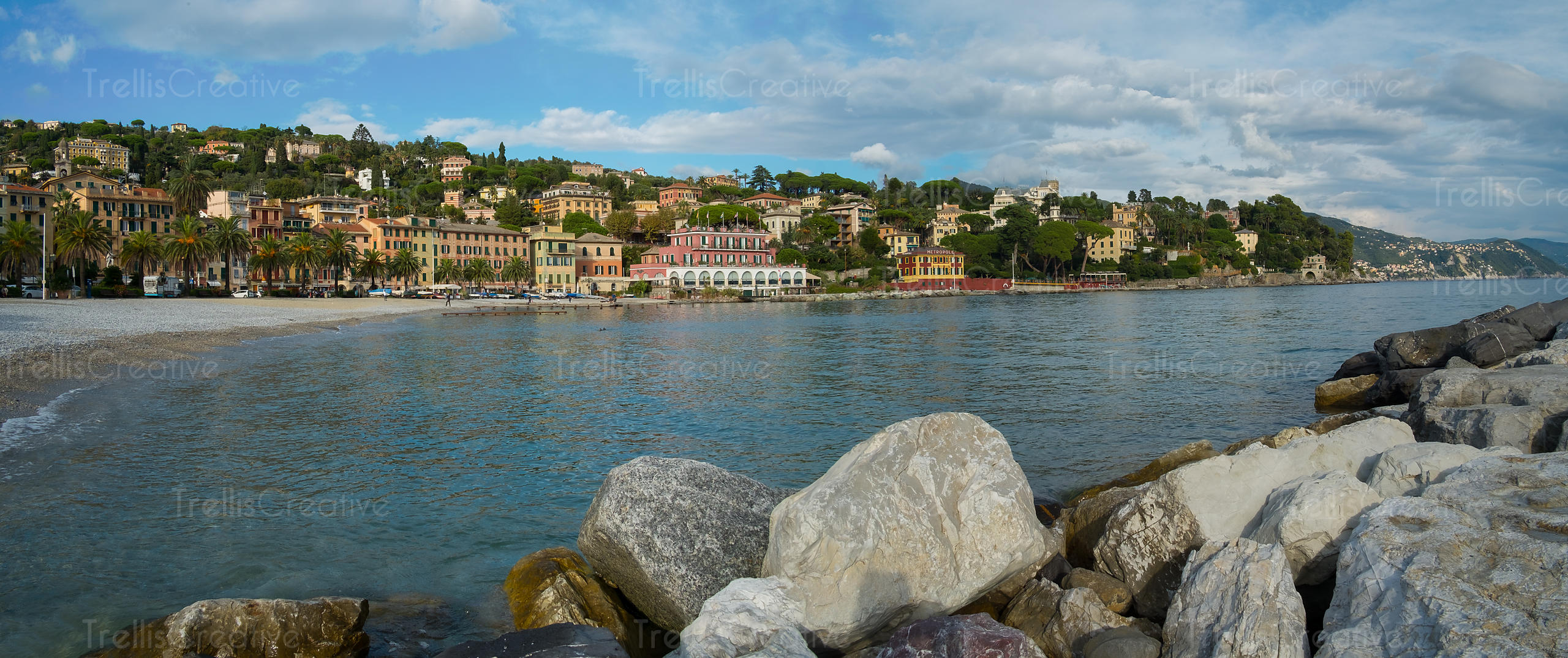 Seaside of Santa Margherita Ligure, famous small town in Liguria