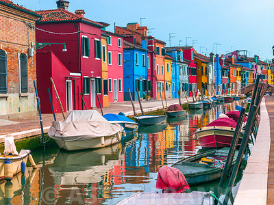 Multi-Coloured houses next to a canal, Burano, Italy