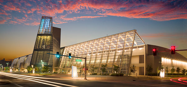 Exterior view of Virginia Beach Convention Center, from southeast at dusk, Virginia Beach, VA