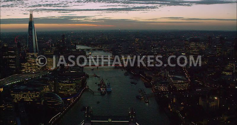 London Aerial Footage River Thames with Tower Bridge