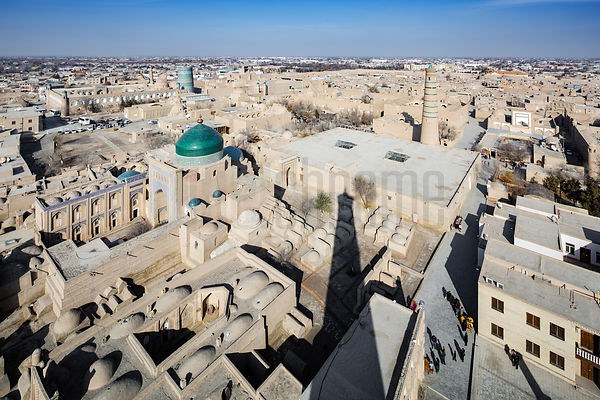View of Khiva from the Islom-Hoja Minaret, the highest in Uzbekistan