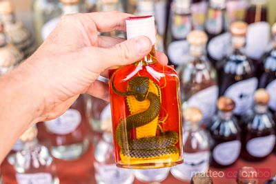 Whisky bottle with snake inside, Laos