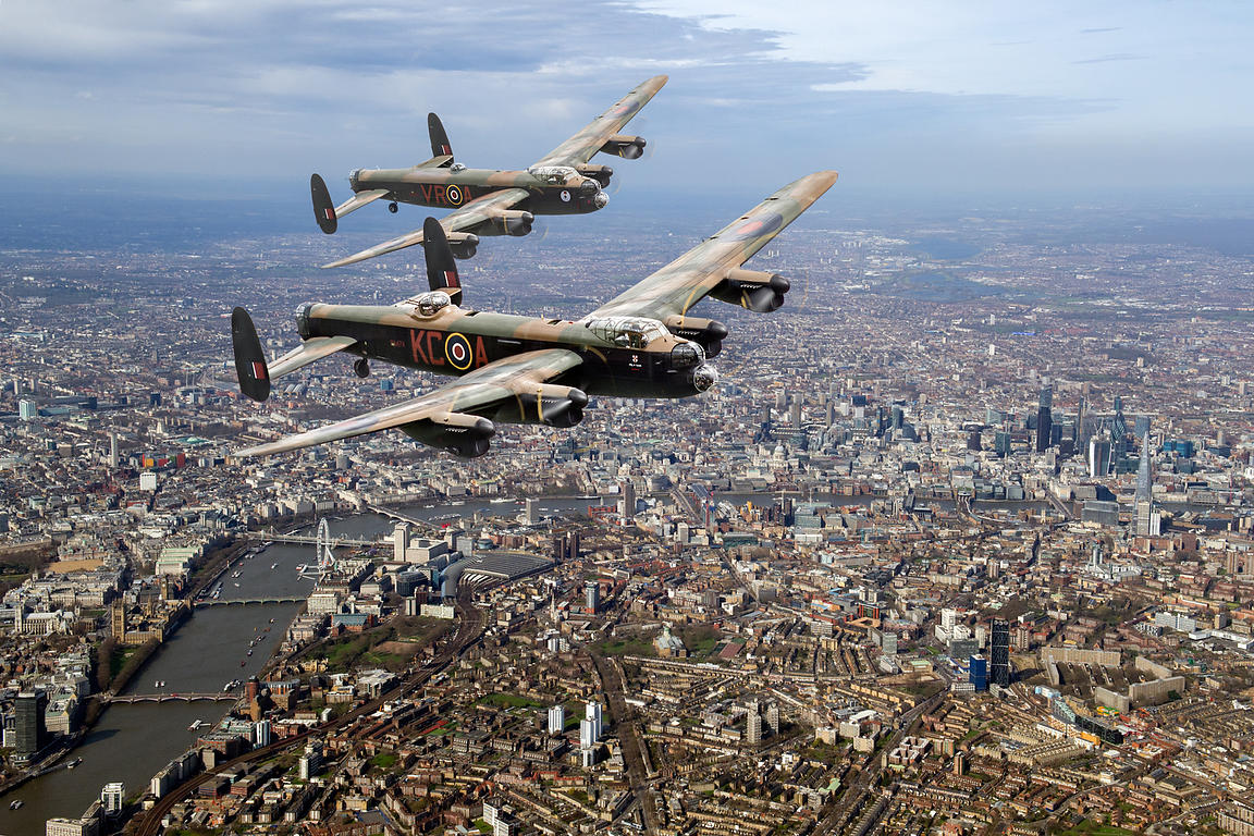 Two Lancasters over London