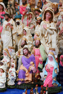 Mary and wise men figures for nativity scenes for sale in Christmas market, Bolivia