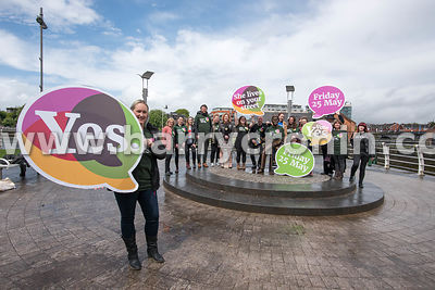 NO REPRO FEES - 11th May, 2018. Pictured at the 'Get Together For Yes' tour at Limerick city were volunteers and supporters i...