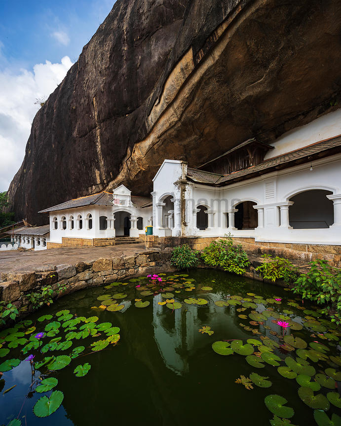 Exterior Buildings and Lily Pad Pond at Dambulla Caves
