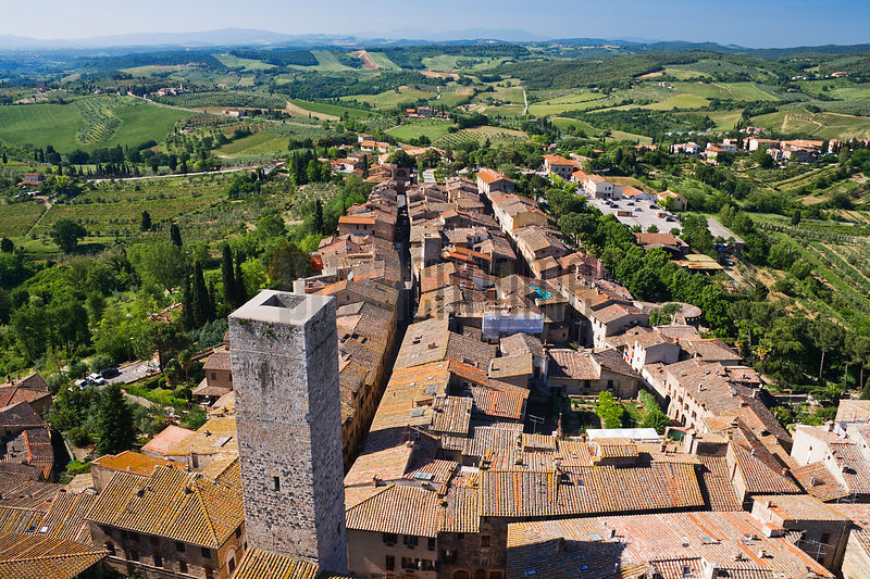 Tuscan Countryside above Mediaeval Hill Town of San Gimignano, Tuscany, Italy