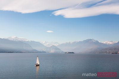 Sail boat on lake Maggiore, Lombardy, Italy