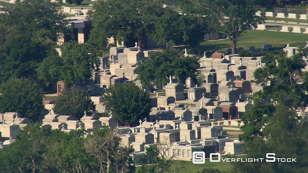 Flying past cemetery in New Orleans