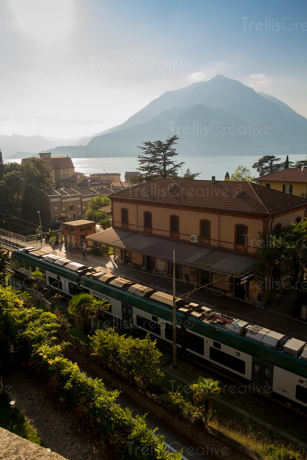 Train pulls into the station in Varenna, Italy